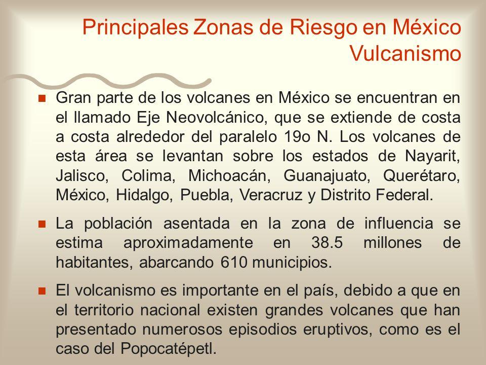 n n Gran parte de los volcanes en México se encuentran en el llamado Eje Neovolcánico, que se extiende de costa a costa alrededor del paralelo 19o N.