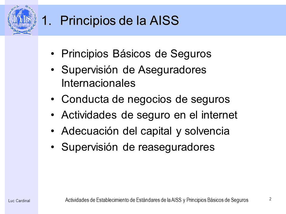 Actividades de Establecimiento de Estándares de la AISS y Principios Básicos de Seguros 2 Luc Cardinal 1.Principios de la AISS Principios Básicos de S