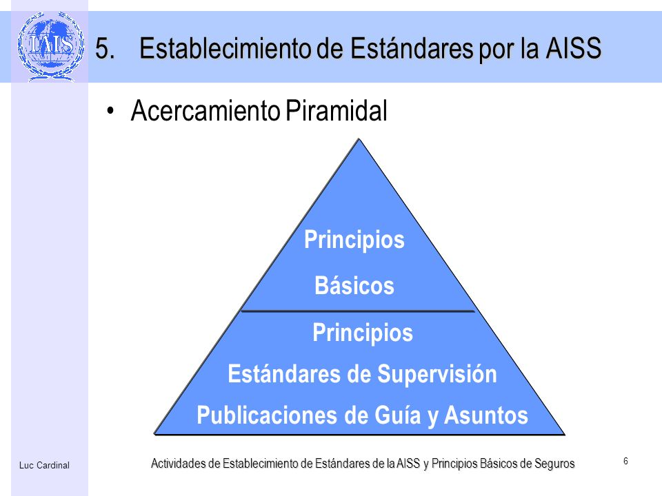 Actividades de Establecimiento de Estándares de la AISS y Principios Básicos de Seguros 6 Luc Cardinal 5.Establecimiento de Estándares por la AISS Pri