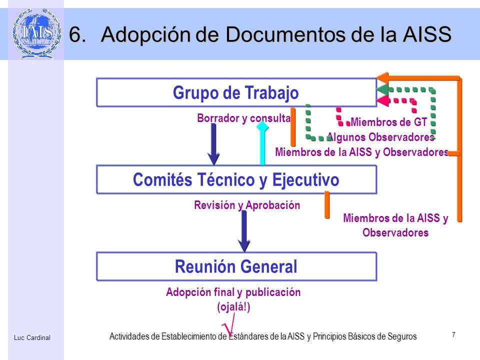 Actividades de Establecimiento de Estándares de la AISS y Principios Básicos de Seguros 8 Luc Cardinal Los primeros PBSs adopatados en Octubre del 2000, basados en los Principios Supervisores de Seguros de 1997 FSAP (el Programa de Evaluación del Sector Financiero) inició en 1999 Comparación por el Fórum de Asamblea de los principios básicos en los sectores de banca, seguros y valores en el 2001 Experiencias en el FSAP Revisión de los PBS 7.Historia de los Principios Básicos de Seguros