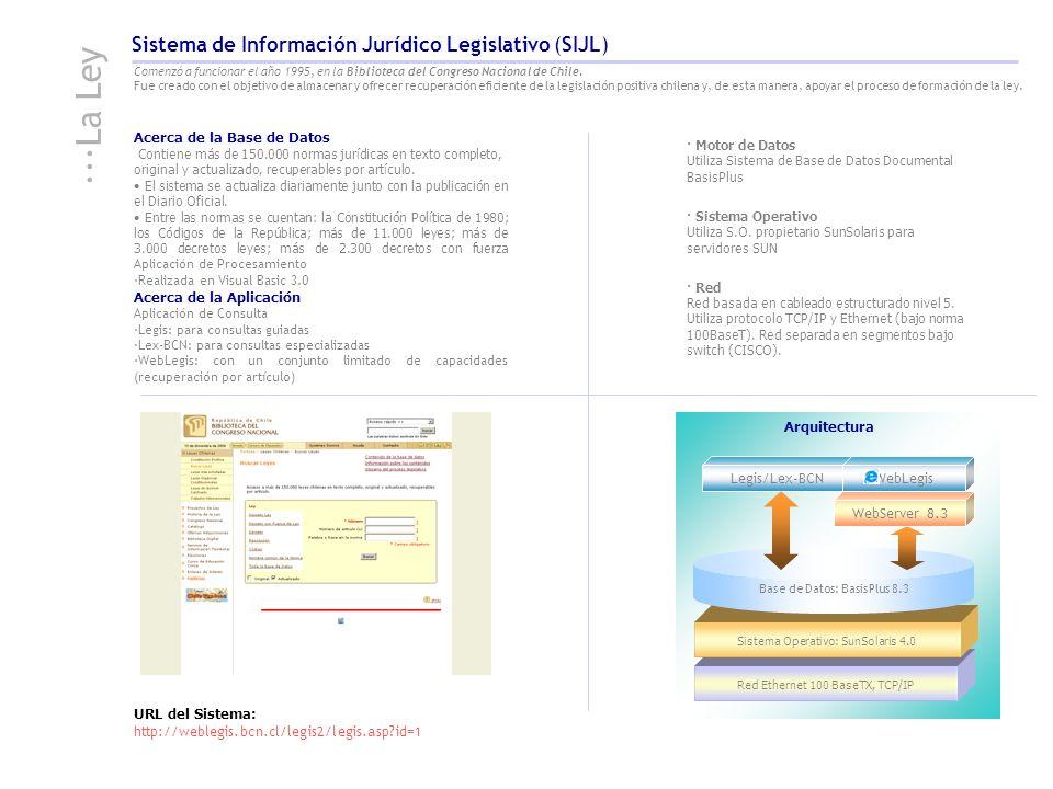 Red Ethernet 100 BaseTX, TCP/IP Sistema Operativo: SunSolaris 4.0 Acerca de la Base de Datos Contiene más de 150.000 normas jurídicas en texto complet