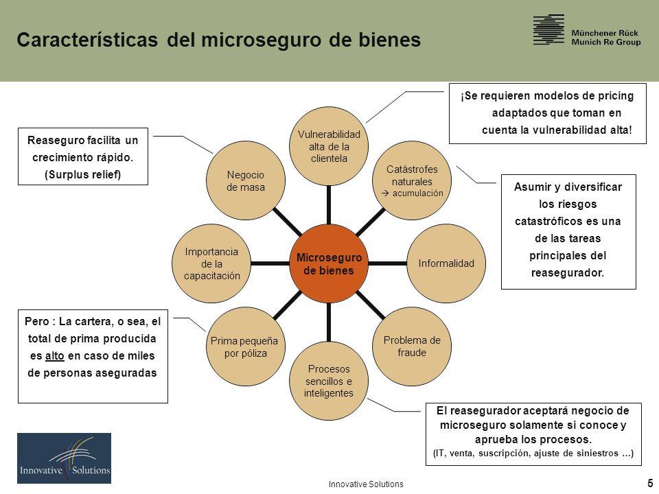 5 Innovative Solutions Características del microseguro de bienes Asumir y diversificar los riesgos catastróficos es una de las tareas principales del reasegurador.