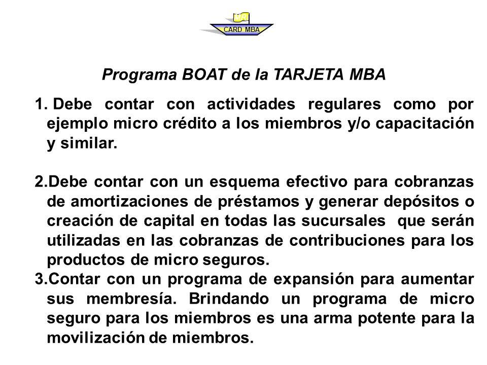 Programa BOAT de la TARJETA MBA 1.