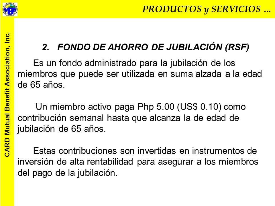 TABLA DE BENEFICIOS DE SEGURO DE VIDA a Php 15.00 (US$.31) por semana TIEMPO DE MEMBRESÍA CAUSA DE FALLECIMIENTO O INVALIDEZ PERMANENTE TOTAL BENEFICIOS (Php) MIEMBRO DEPENDIENTE LEGAL MENOS DE UN AÑO DEBIDO A UNA CONDICIÓN PRE EXISTENTE 2,000.00 (US$41.66) NINGUNO ENFERMEDAD DESPUÉS DE RECONOCIMIENTO 6,000.00 (US$ 1245.00) 5,000.00 (US$ 104.16) DEBIDO A ACCIDENTE 12,000.00 (US$ 250.00) 5,000.00 (US$ 104.16) MÁS DE UN AÑO PERO MENOS DE 2 AÑOS DEBIDO A ENFERMEDAD 10,000.00 (US$ 208.33) 5,000.00 (US$ 104.16) DEBIDO A ACCIDENTE 20,000.00 (US$ 416.66) 5,000.00 (US$ 104.16) MÁS DE DOS AÑOS PERO MENOS DE TRES AÑOS DEBIDO A ENFERMEDAD 30,000.00 (US$ 625.00) 10,000.00 (US$ 208.33) DEBIDOA ACCIDENTE 60,000.00 (US$ 1,250.00) 10,000.00 (US$ 208.33) MÁS DE TRES AÑOS DEBIDO A ENFERMEDAD 50,000.00 (US$ 1,041.66) 10,000.00 (US$ 208.33) DEBIDO A ACCIDENTE 100,000.00 (US$ 2,083.33) 10,000.00 (US$ 208.33) Una donación de Php 1,000.00 (US$ 20.83) es entregada al miembro cuyo hijo nace pero muere menos de 14 días después del nacimiento.