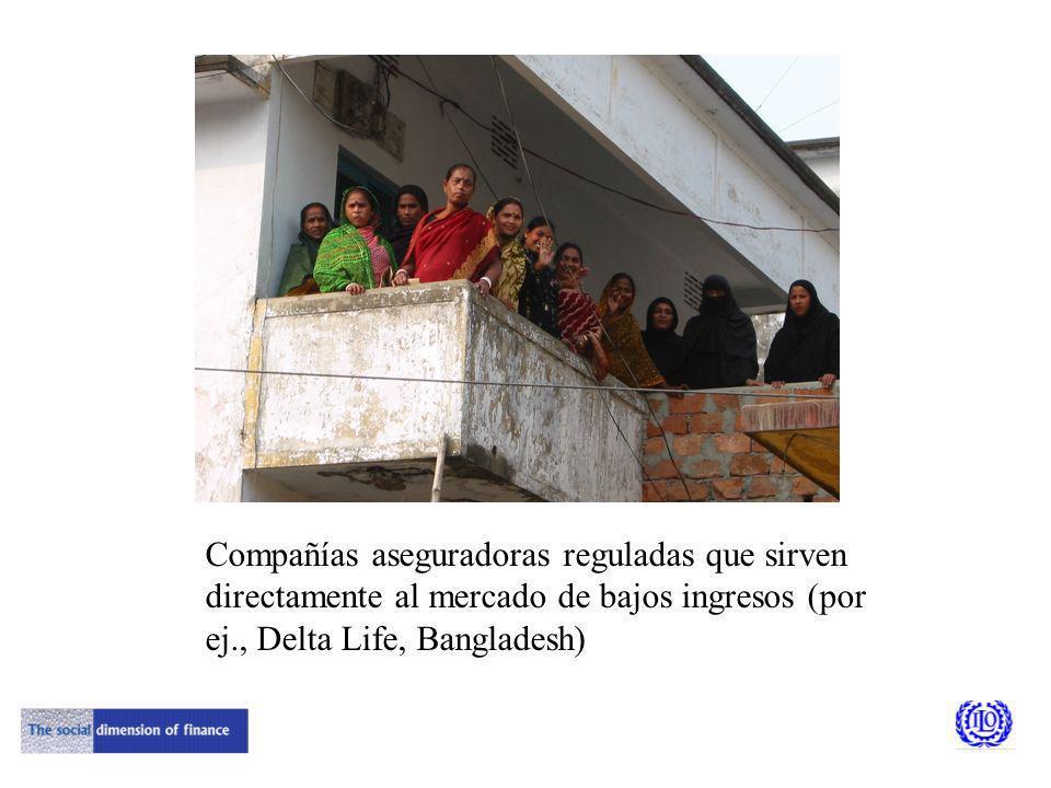 Compañías aseguradoras reguladas que sirven directamente al mercado de bajos ingresos (por ej., Delta Life, Bangladesh)