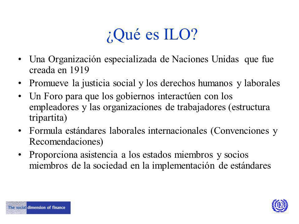 Interés de ILO en el microseguro ILO se preocupa de: Promover el trabajo digno: más y mejores trabajos La existencia de protección social para los trabajadores y sus familias El impacto de las políticas financieras en la justicia social, es decir, hacia mercados financieros más globales