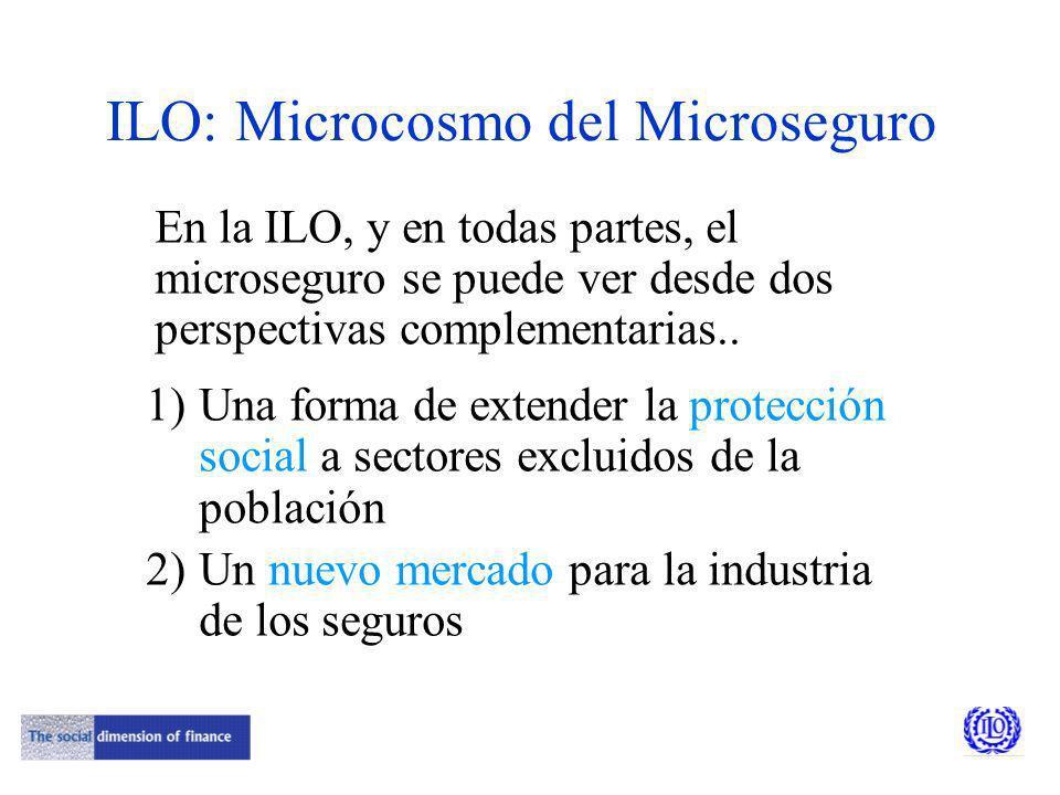 ILO: Microcosmo del Microseguro En la ILO, y en todas partes, el microseguro se puede ver desde dos perspectivas complementarias..