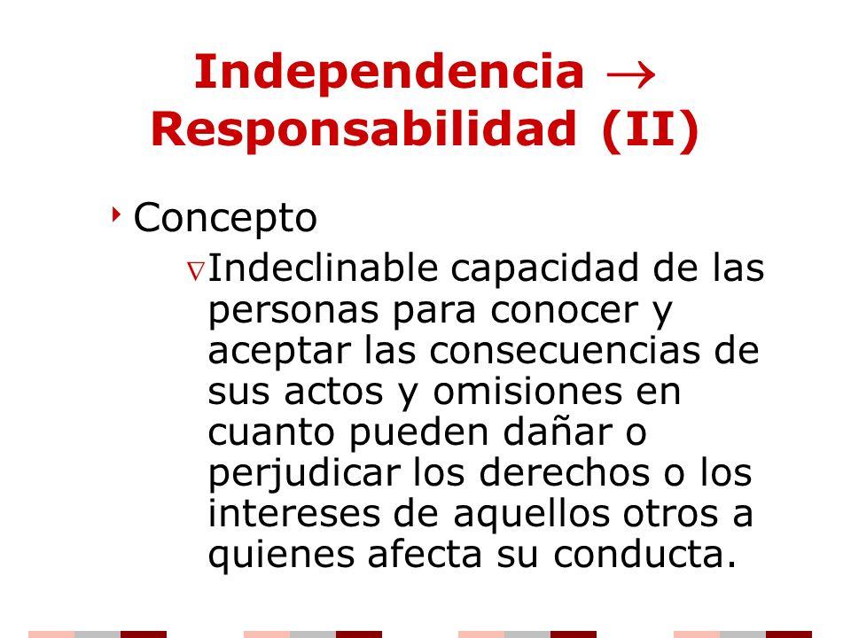 Independencia Responsabilidad (II) Concepto Indeclinable capacidad de las personas para conocer y aceptar las consecuencias de sus actos y omisiones e