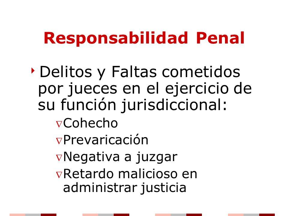 Responsabilidad Penal Delitos y Faltas cometidos por jueces en el ejercicio de su función jurisdiccional: Cohecho Prevaricación Negativa a juzgar Reta
