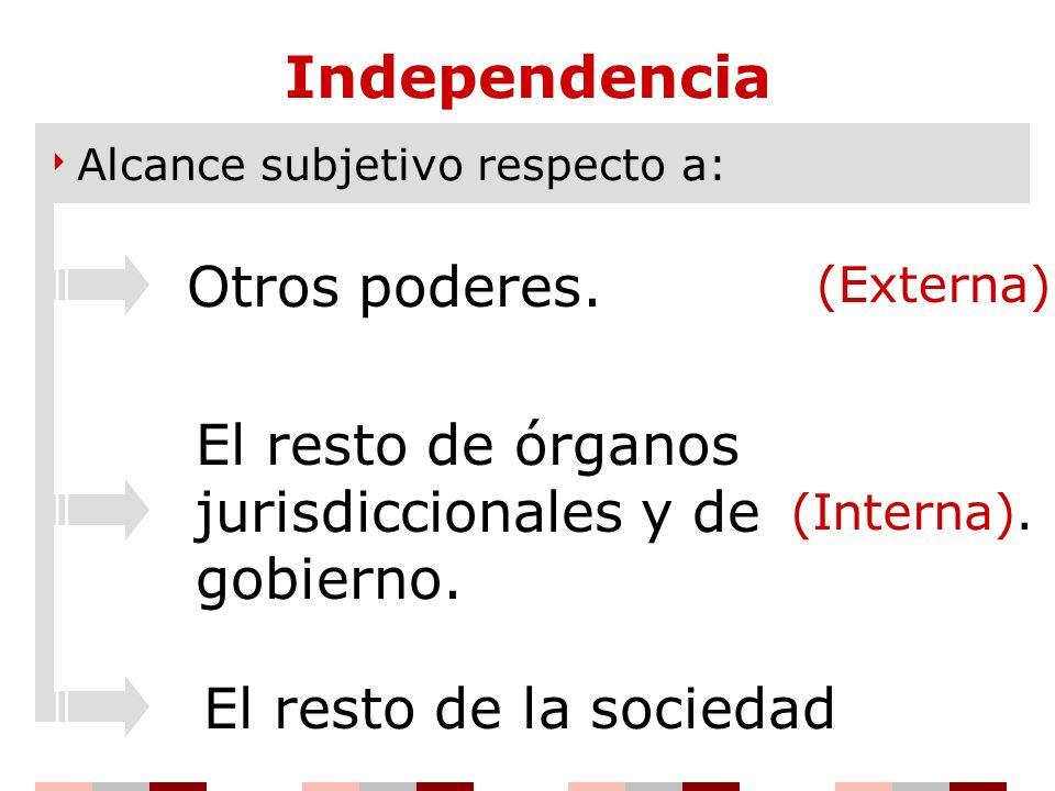 Independencia Alcance subjetivo respecto a: (Externa) (Interna). Otros poderes. El resto de órganos jurisdiccionales y de gobierno. El resto de la soc