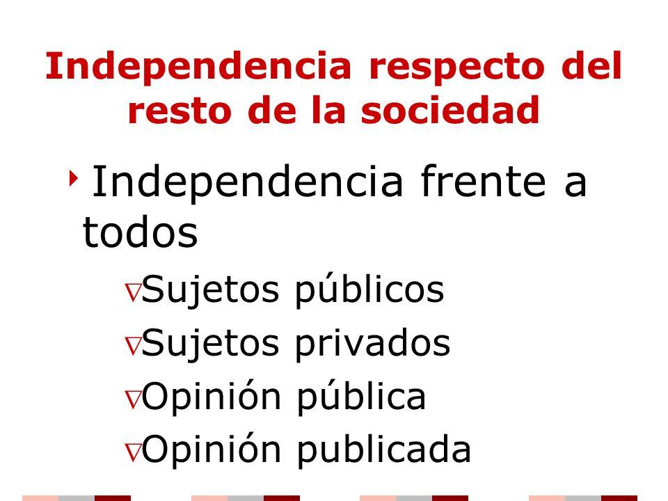 Independencia respecto del resto de la sociedad Independencia frente a todos Sujetos públicos Sujetos privados Opinión pública Opinión publicada