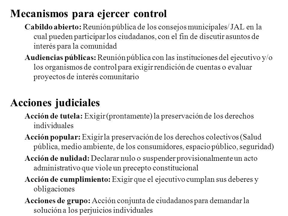 Mecanismos para ejercer control Cabildo abierto: Reunión pública de los consejos municipales/ JAL en la cual pueden participar los ciudadanos, con el