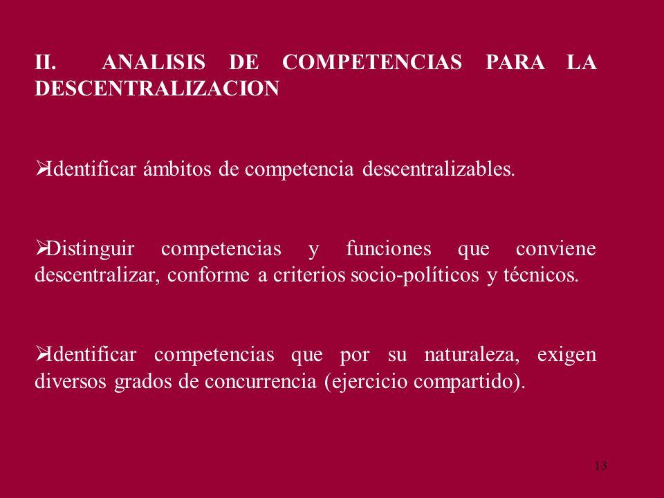 13 II. ANALISIS DE COMPETENCIAS PARA LA DESCENTRALIZACION Identificar ámbitos de competencia descentralizables. Distinguir competencias y funciones qu