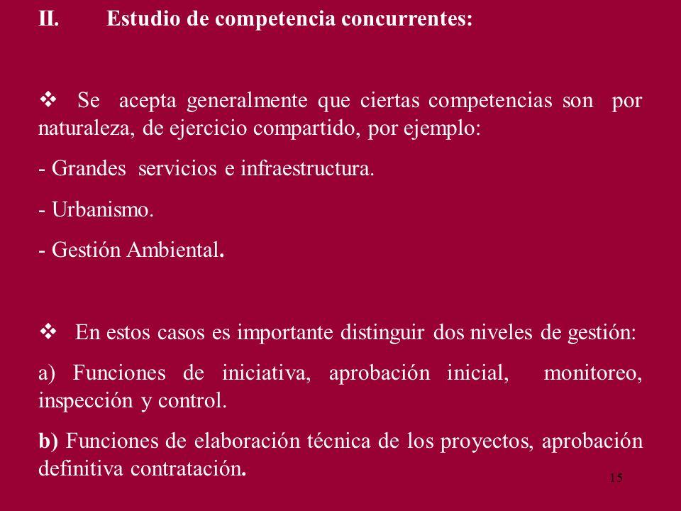 15 II.Estudio de competencia concurrentes: Se acepta generalmente que ciertas competencias son por naturaleza, de ejercicio compartido, por ejemplo: -