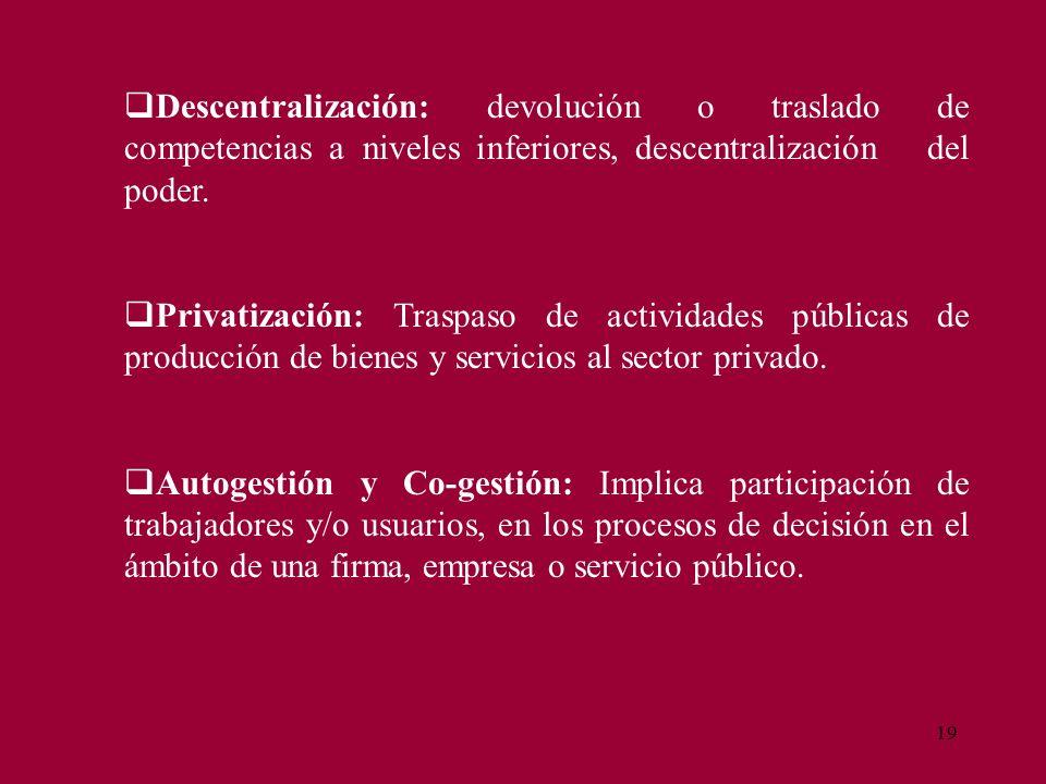 19 Descentralización: devolución o traslado de competencias a niveles inferiores, descentralización del poder. Privatización: Traspaso de actividades