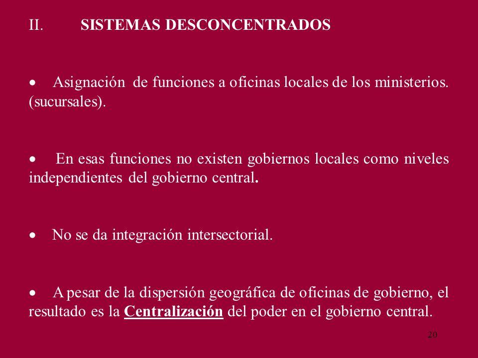 20 II. SISTEMAS DESCONCENTRADOS Asignación de funciones a oficinas locales de los ministerios. (sucursales). En esas funciones no existen gobiernos lo