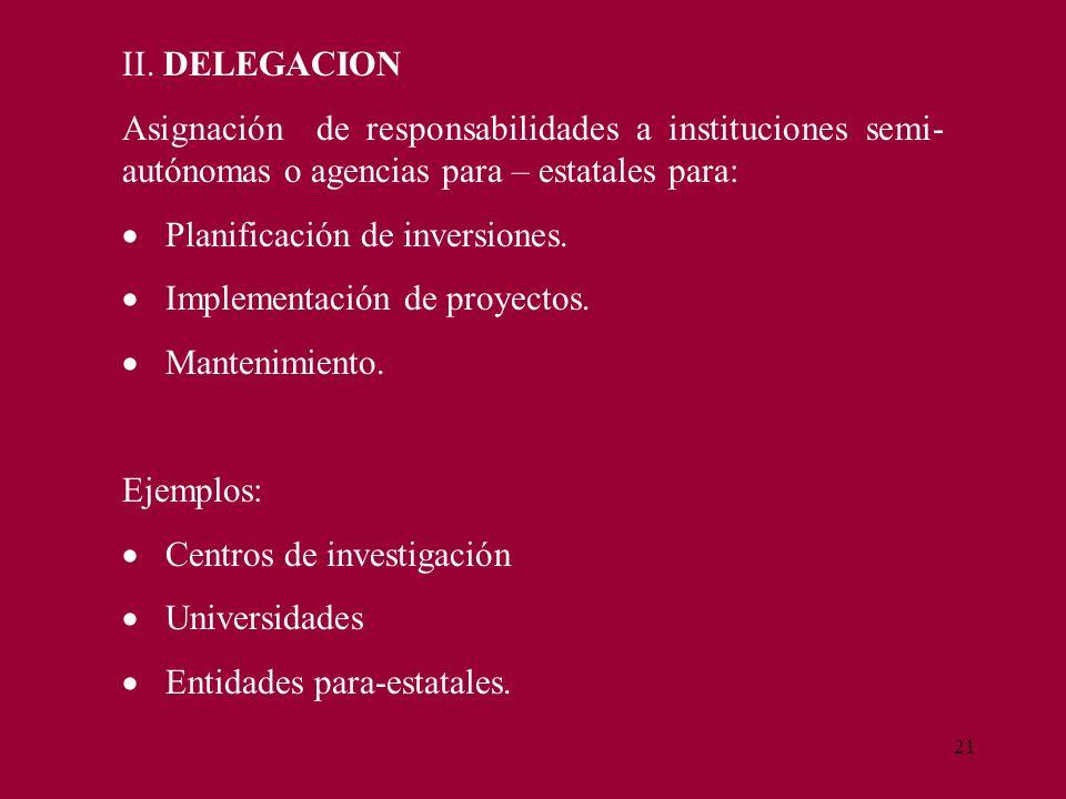 21 II. DELEGACION Asignación de responsabilidades a instituciones semi- autónomas o agencias para – estatales para: Planificación de inversiones. Impl