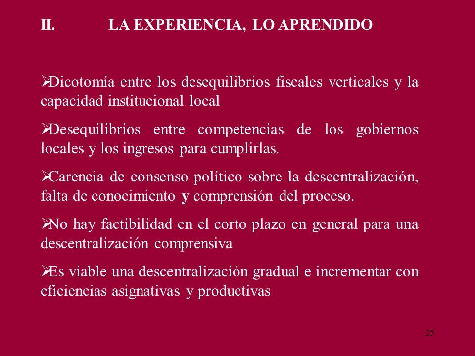 25 II. LA EXPERIENCIA, LO APRENDIDO Dicotomía entre los desequilibrios fiscales verticales y la capacidad institucional local Desequilibrios entre com