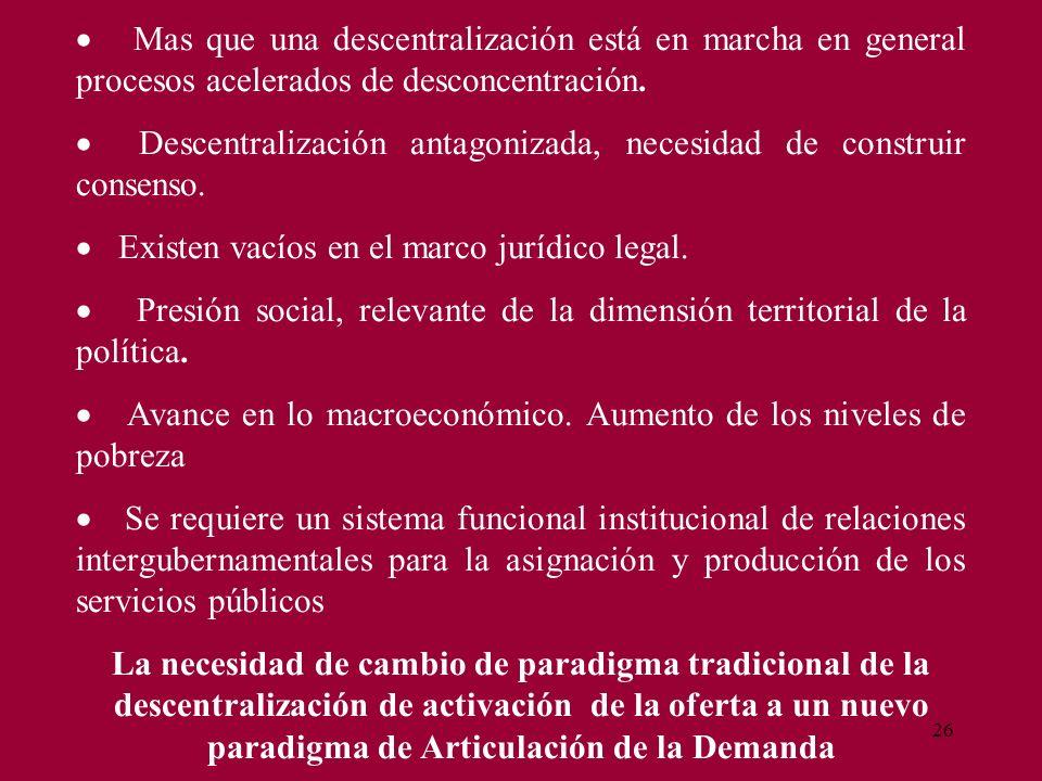 26 Mas que una descentralización está en marcha en general procesos acelerados de desconcentración. Descentralización antagonizada, necesidad de const