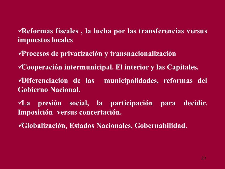 29 Reformas fiscales, la lucha por las transferencias versus impuestos locales Procesos de privatización y transnacionalización Cooperación intermunic