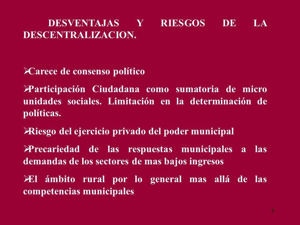 6 DESVENTAJAS Y RIESGOS DE LA DESCENTRALIZACION. Carece de consenso político Participación Ciudadana como sumatoria de micro unidades sociales. Limita