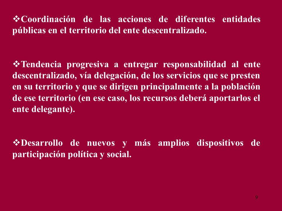 9 Coordinación de las acciones de diferentes entidades públicas en el territorio del ente descentralizado. Tendencia progresiva a entregar responsabil