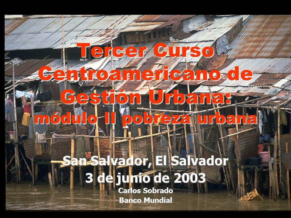 San Salvador, El Salvador 3 de junio de 2003 Carlos Sobrado Banco Mundial Tercer Curso Centroamericano de Gestión Urbana: módulo II pobreza urbana