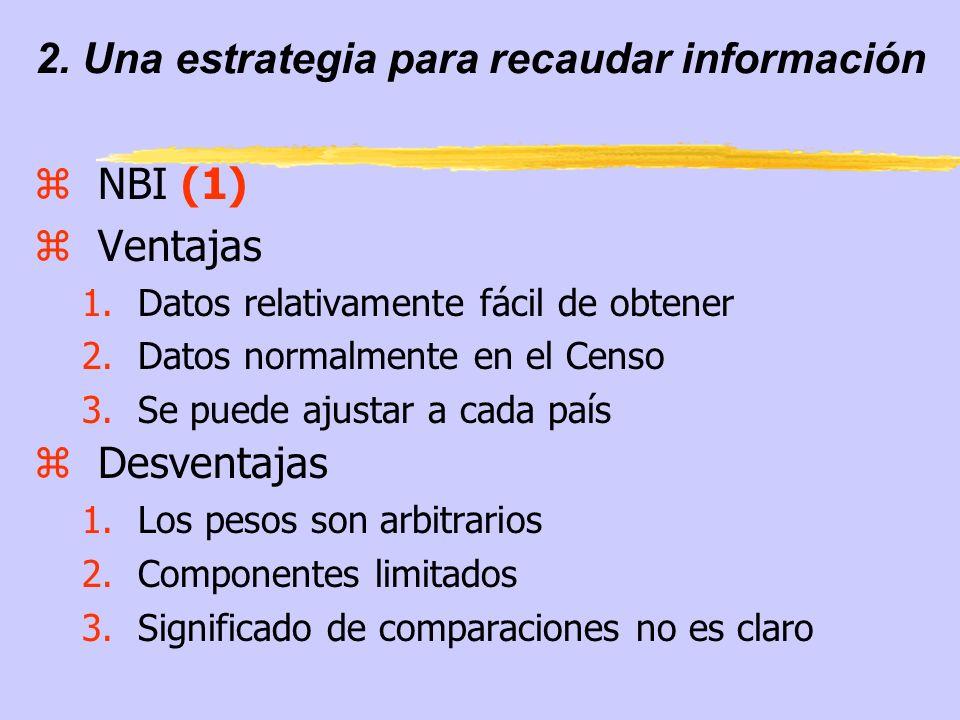2. Una estrategia para recaudar información zNBI (1) zVentajas 1.Datos relativamente fácil de obtener 2.Datos normalmente en el Censo 3.Se puede ajust