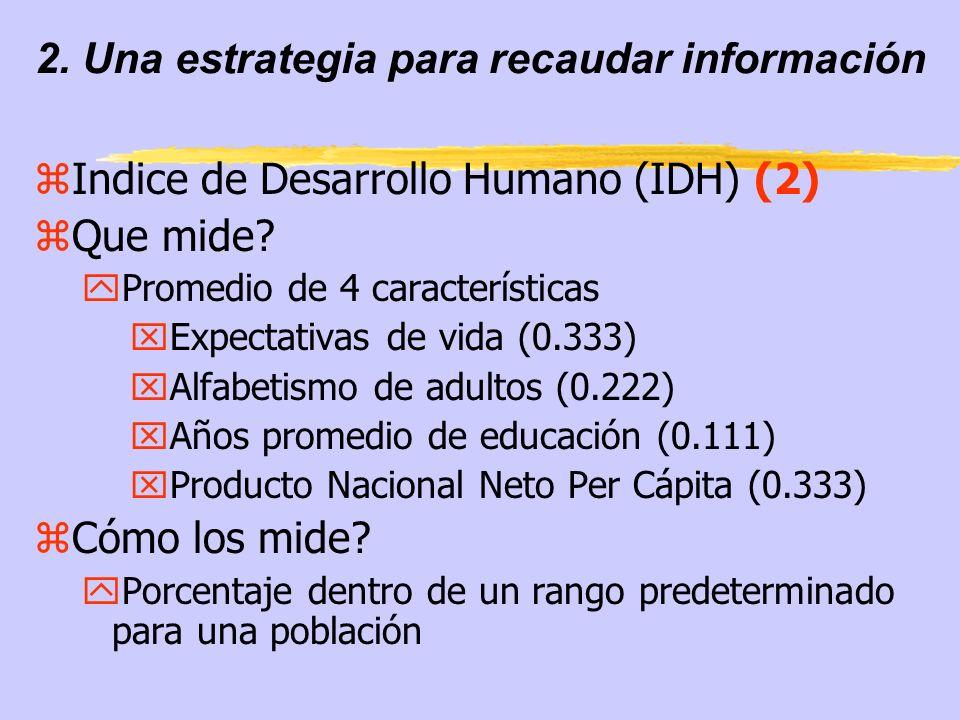 2. Una estrategia para recaudar información zIndice de Desarrollo Humano (IDH) (2) zQue mide? yPromedio de 4 características xExpectativas de vida (0.