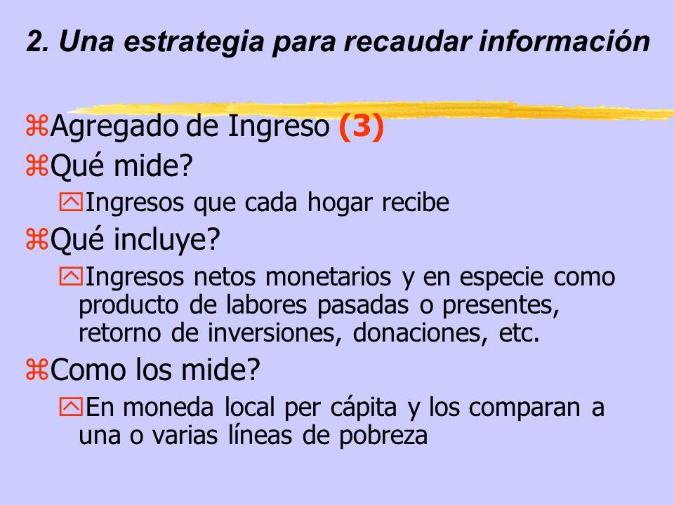 2. Una estrategia para recaudar información zAgregado de Ingreso (3) zQué mide? yIngresos que cada hogar recibe zQué incluye? yIngresos netos monetari