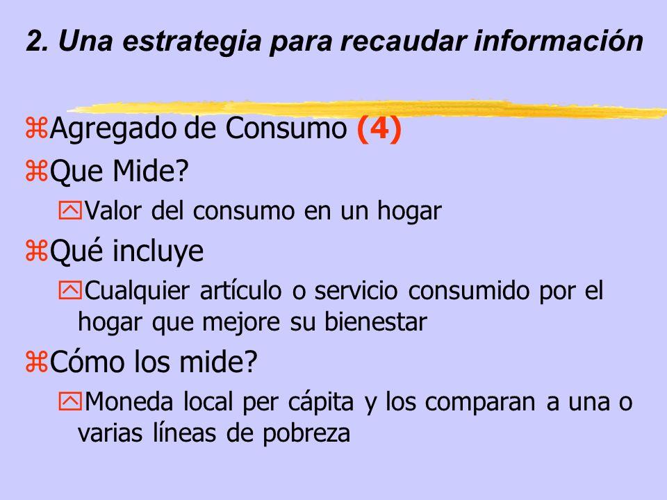 2. Una estrategia para recaudar información zAgregado de Consumo (4) zQue Mide? yValor del consumo en un hogar zQué incluye yCualquier artículo o serv