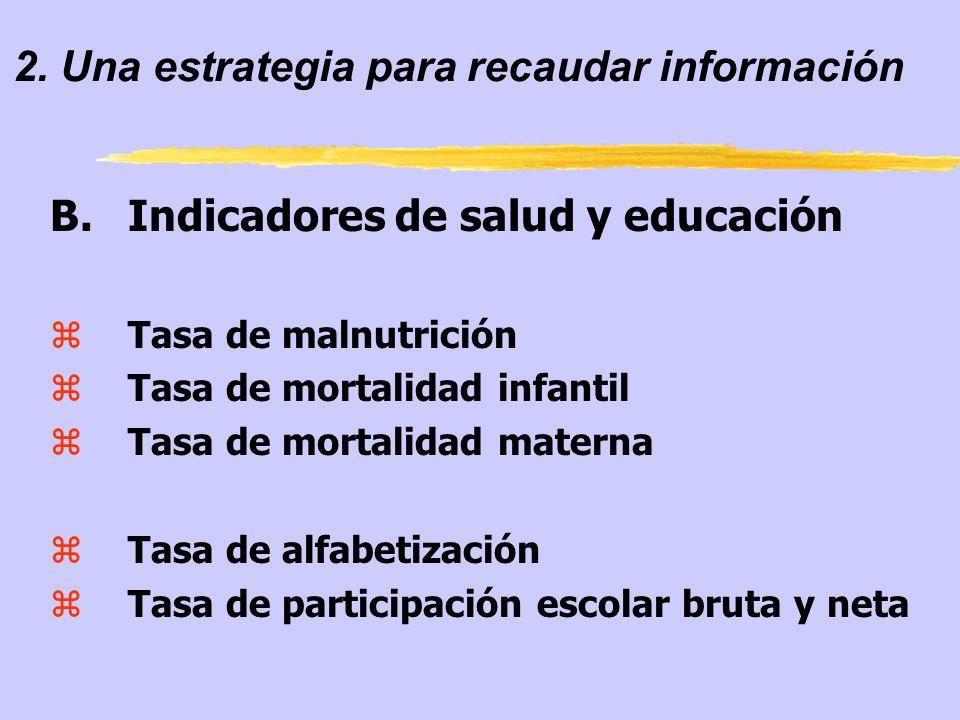 2. Una estrategia para recaudar información B.Indicadores de salud y educación zTasa de malnutrición zTasa de mortalidad infantil zTasa de mortalidad