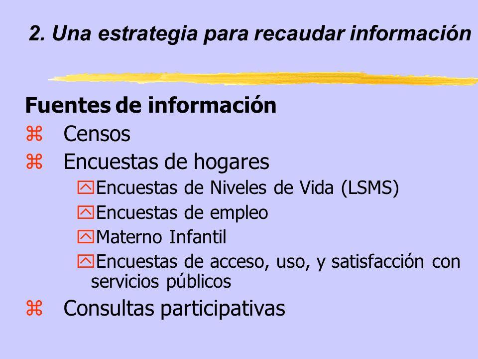 2. Una estrategia para recaudar información Fuentes de información zCensos zEncuestas de hogares yEncuestas de Niveles de Vida (LSMS) yEncuestas de em