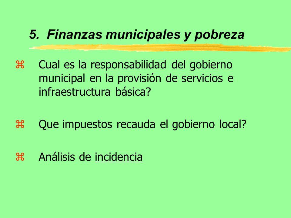 5. Finanzas municipales y pobreza zCual es la responsabilidad del gobierno municipal en la provisión de servicios e infraestructura básica? zQue impue