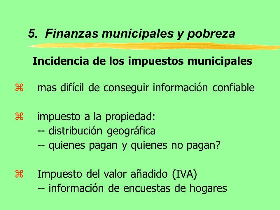 5. Finanzas municipales y pobreza Incidencia de los impuestos municipales zmas difícil de conseguir información confiable zimpuesto a la propiedad: --