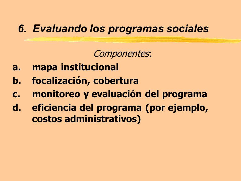 6. Evaluando los programas sociales Componentes: a.mapa institucional b.focalización, cobertura c.monitoreo y evaluación del programa d.eficiencia del