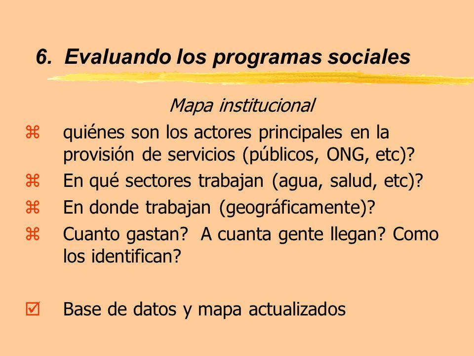 6. Evaluando los programas sociales Mapa institucional zquiénes son los actores principales en la provisión de servicios (públicos, ONG, etc)? zEn qué