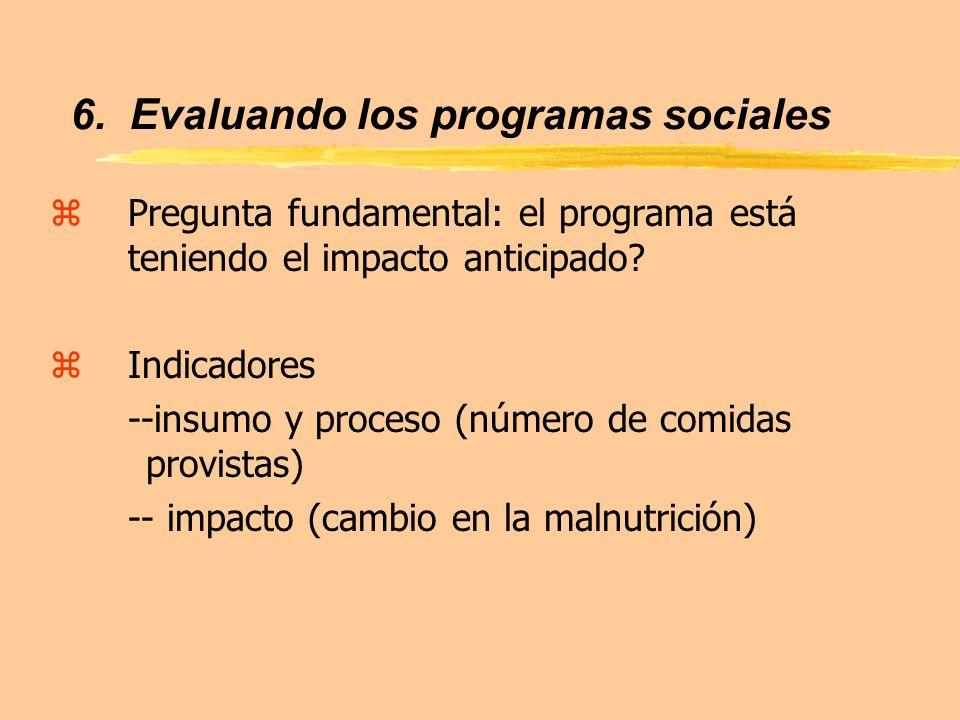 zPregunta fundamental: el programa está teniendo el impacto anticipado? zIndicadores --insumo y proceso (número de comidas provistas) -- impacto (camb