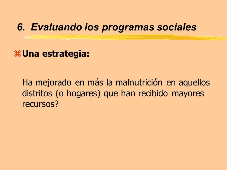 6. Evaluando los programas sociales zUna estrategia: Ha mejorado en más la malnutrición en aquellos distritos (o hogares) que han recibido mayores rec