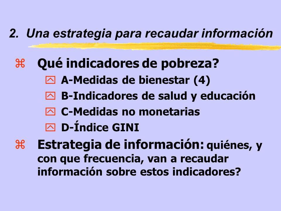 2. Una estrategia para recaudar información zQué indicadores de pobreza? yA-Medidas de bienestar (4) yB-Indicadores de salud y educación yC-Medidas no