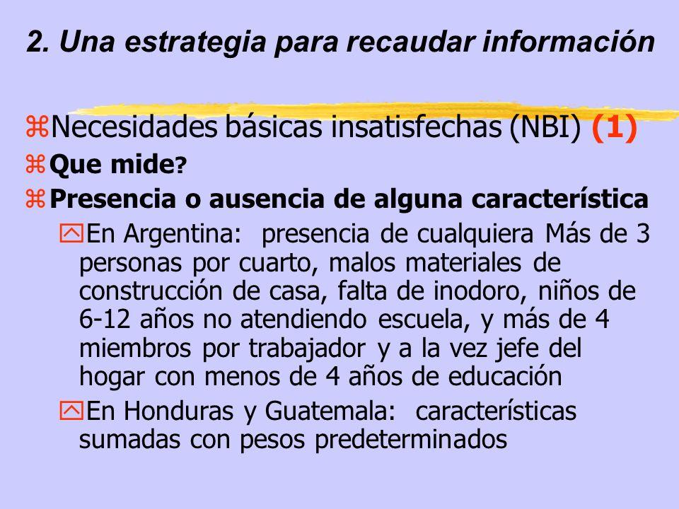 2. Una estrategia para recaudar información zNecesidades básicas insatisfechas (NBI) (1) zQue mide ? zPresencia o ausencia de alguna característica yE