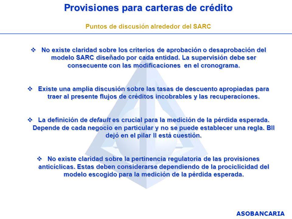 ASOBANCARIA Provisiones para carteras de crédito Puntos de discusión alrededor del SARC No existe claridad sobre los criterios de aprobación o desapro