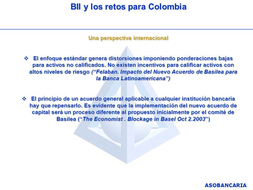 ASOBANCARIA BII y los retos para Colombia Una perspectiva internacional El enfoque estándar genera distorsiones imponiendo ponderaciones bajas para ac