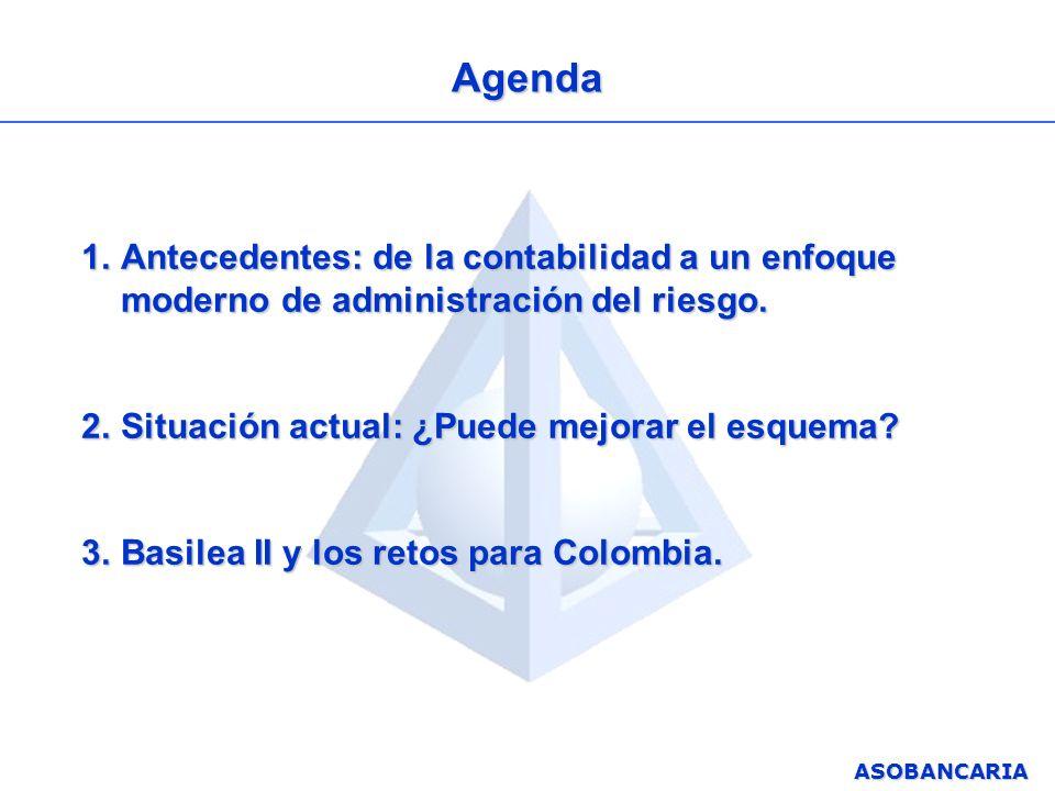 ASOBANCARIA Agenda 1.Antecedentes: de la contabilidad a un enfoque moderno de administración del riesgo. 2.Situación actual: ¿Puede mejorar el esquema