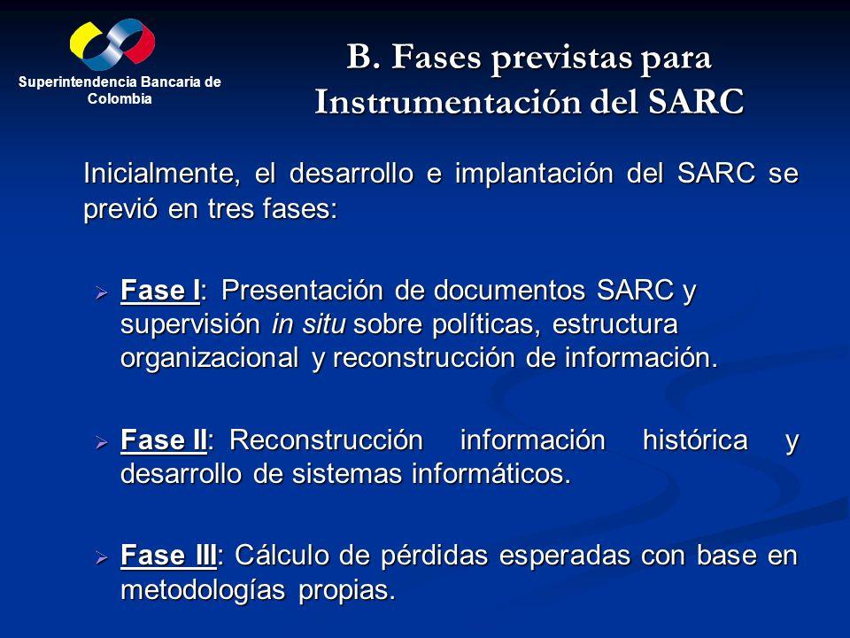 B. Fases previstas para Instrumentación del SARC Inicialmente, el desarrollo e implantación del SARC se previó en tres fases: Fase I:Presentación de d