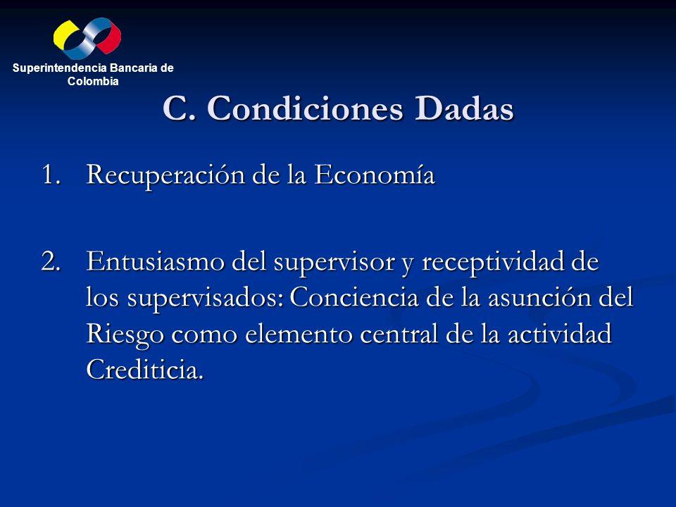 C. Condiciones Dadas 1.Recuperación de la Economía 2.Entusiasmo del supervisor y receptividad de los supervisados: Conciencia de la asunción del Riesg