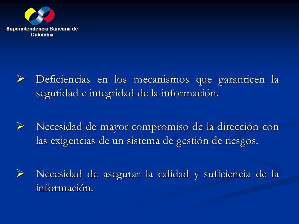 Deficiencias en los mecanismos que garanticen la seguridad e integridad de la información. Deficiencias en los mecanismos que garanticen la seguridad