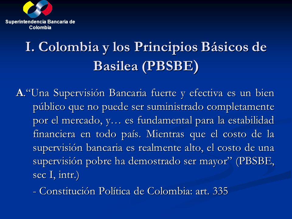 I. Colombia y los Principios Básicos de Basilea (PBSBE ) A.Una Supervisión Bancaria fuerte y efectiva es un bien público que no puede ser suministrado