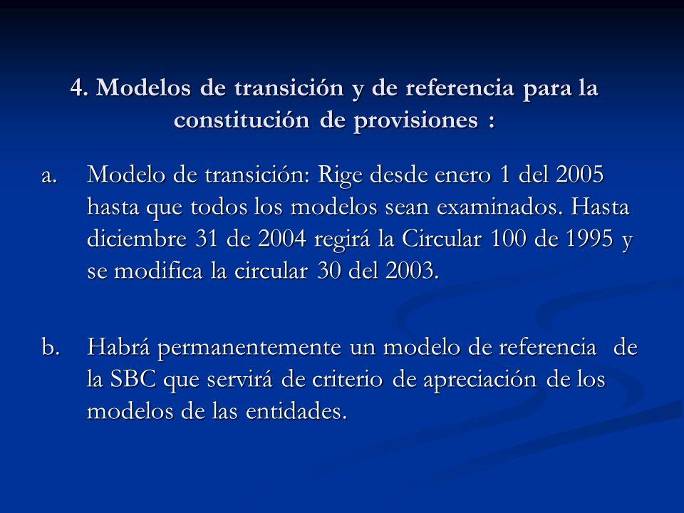 4. Modelos de transición y de referencia para la constitución de provisiones : a.Modelo de transición: Rige desde enero 1 del 2005 hasta que todos los
