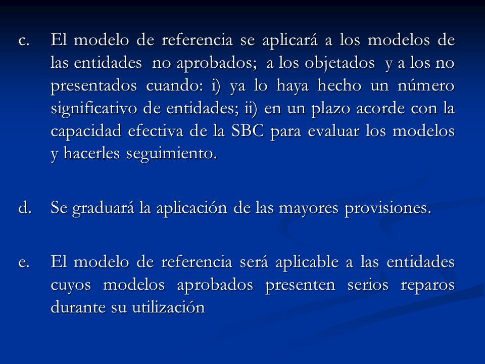 c.El modelo de referencia se aplicará a los modelos de las entidades no aprobados; a los objetados y a los no presentados cuando: i) ya lo haya hecho